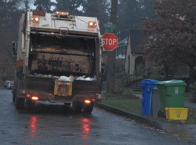 A garbage truck in Portland, Oregon