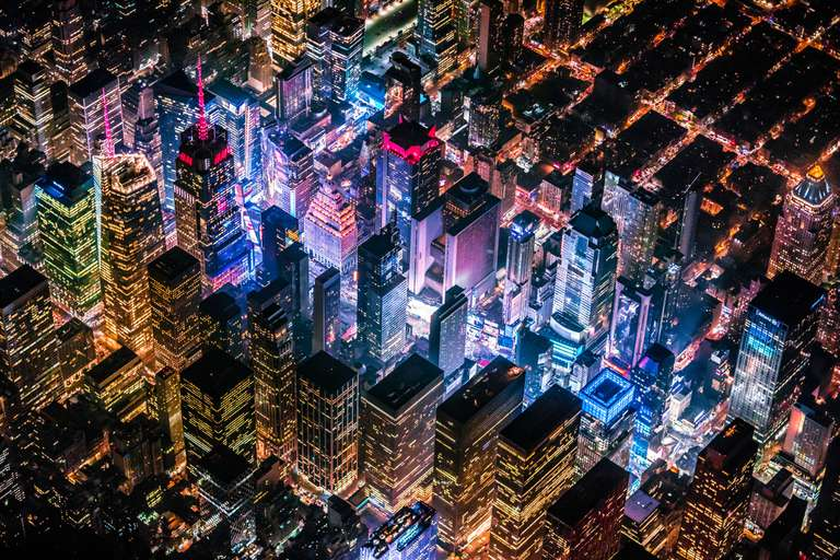 Aerial view of Time Square, New York City, lit up at night