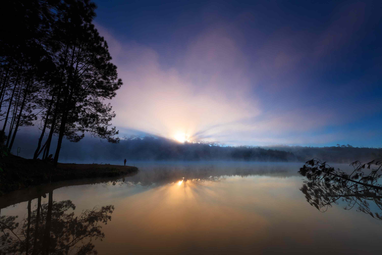 sunrise in Ban Wat Chan Pine Forest, Thailand