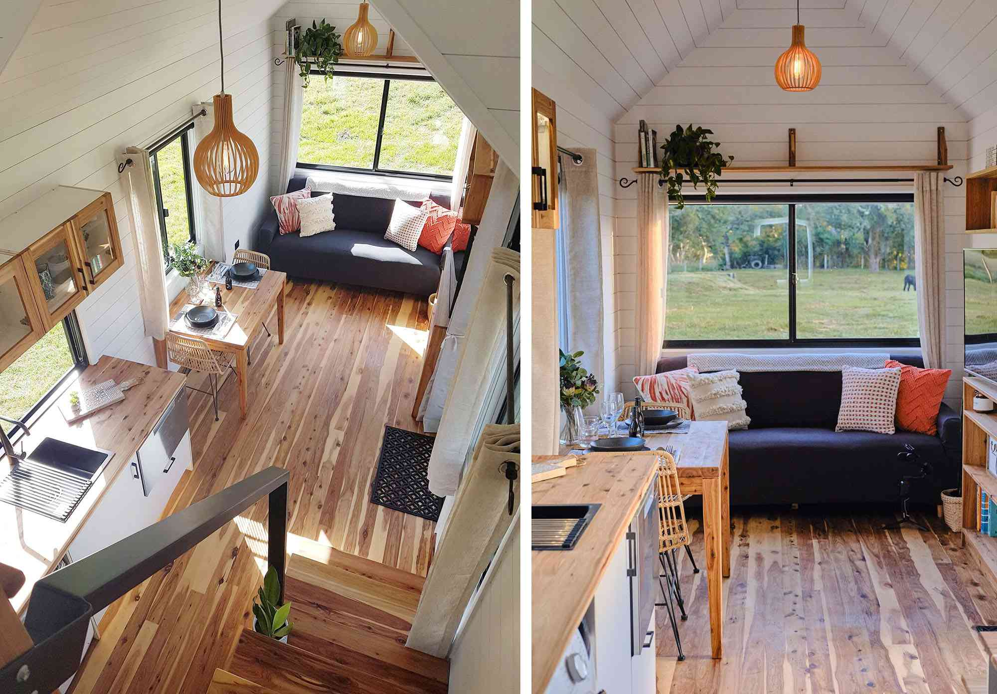 Sojourner Tiny House by Hauslein Tiny House Company living room