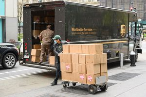 loading UPS truck with boxes