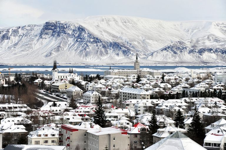 A small town covered in snow