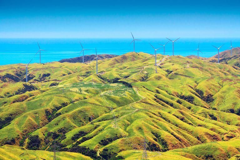 Wind farm against an ocean backdrop