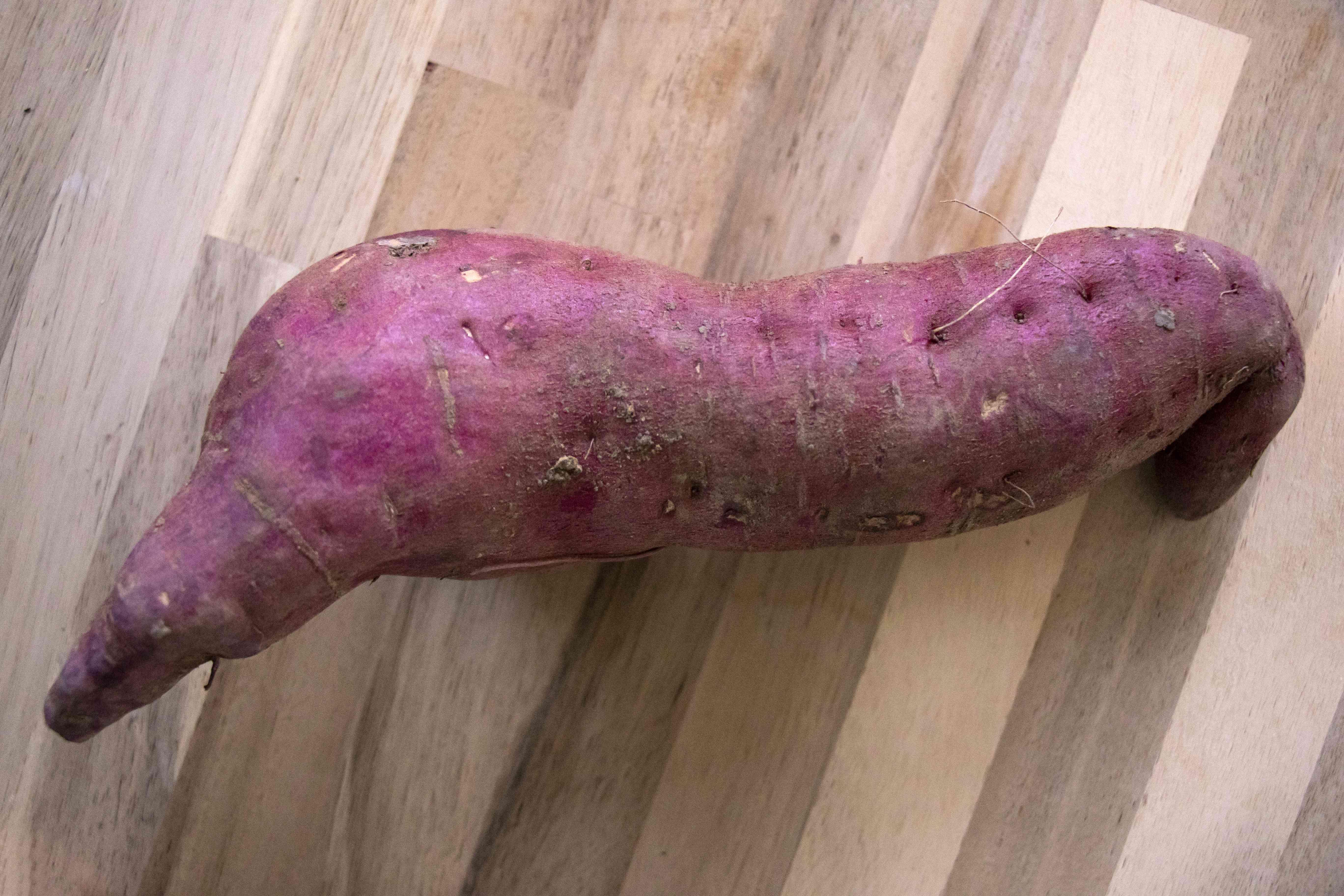 purple sweet potato on wood