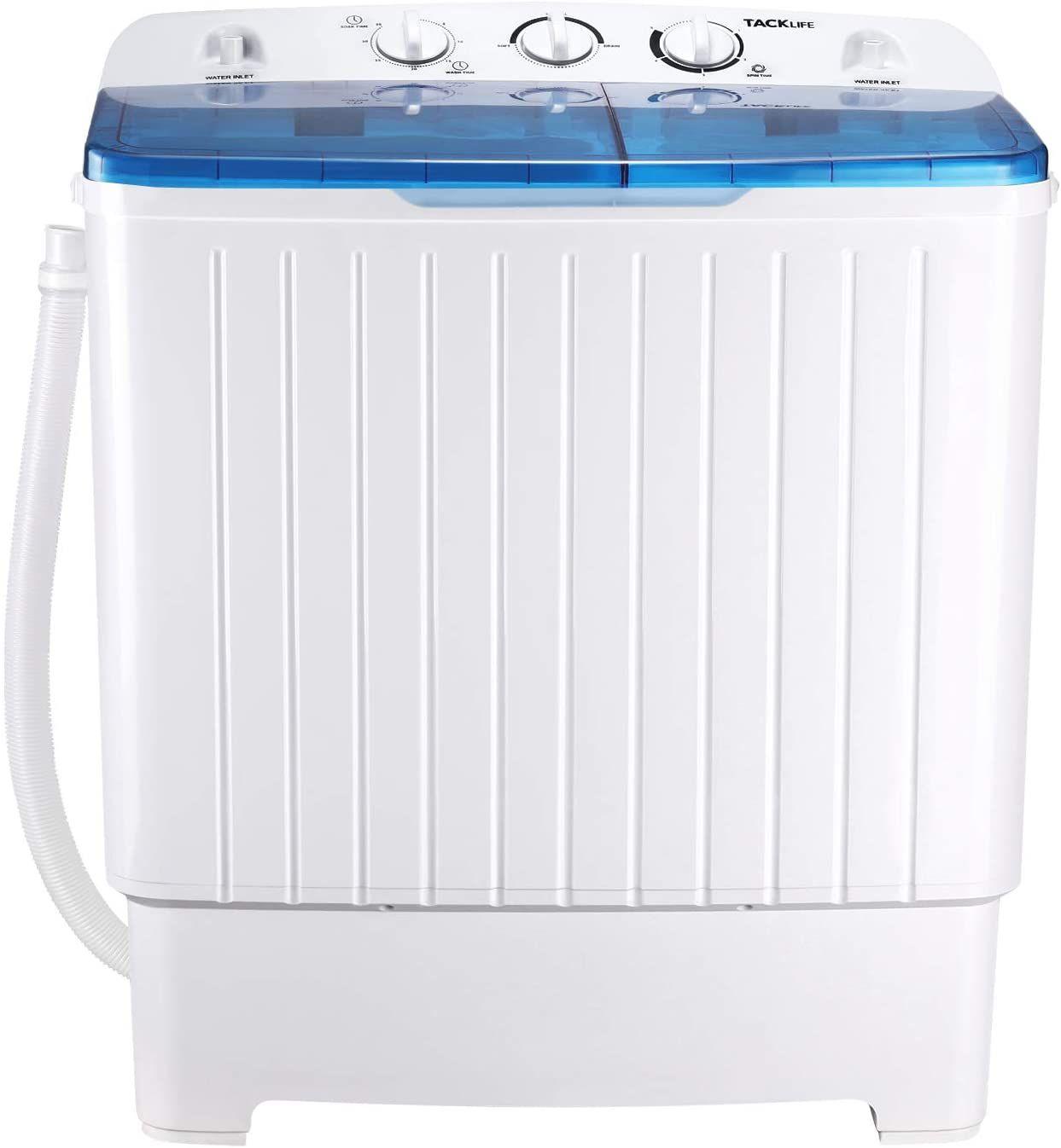 Tacklife 17.6 lbs Mini Compact Twin Tub Washing Machine