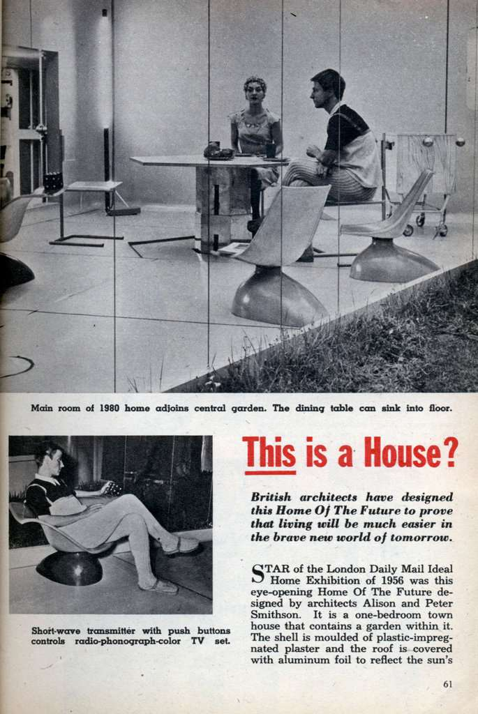 Magazine page with photos of futuristic house