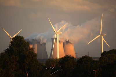 Wind Turbines Erected Next To Europe's Biggest Coal Powered Power Station