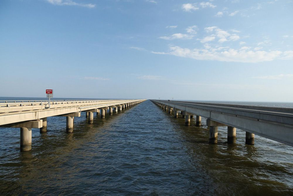 Lake Pontchartrain Causeway on a partly cloudy day