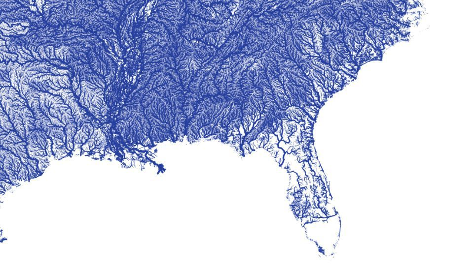Map of rivers in the southeast United States