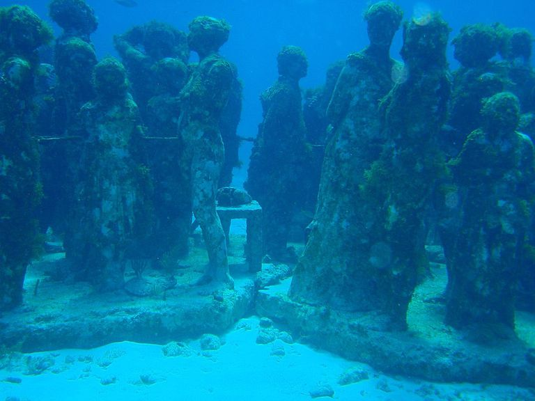 Large group of underwater statues