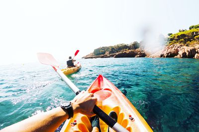 Doing kayak from personal perspective with friend
