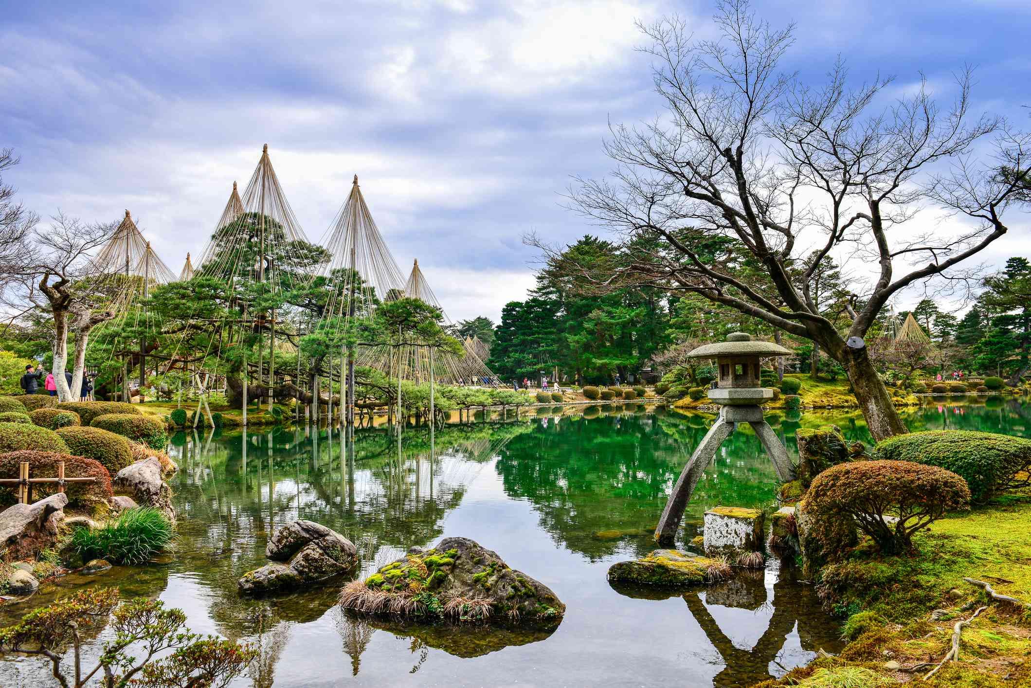 Kenroku-en l garden and pond in Kanazawa, Ishikawa, Japan