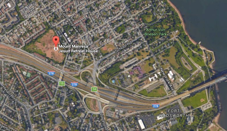 Google Map view of the Mount Manresa site on Staten Island
