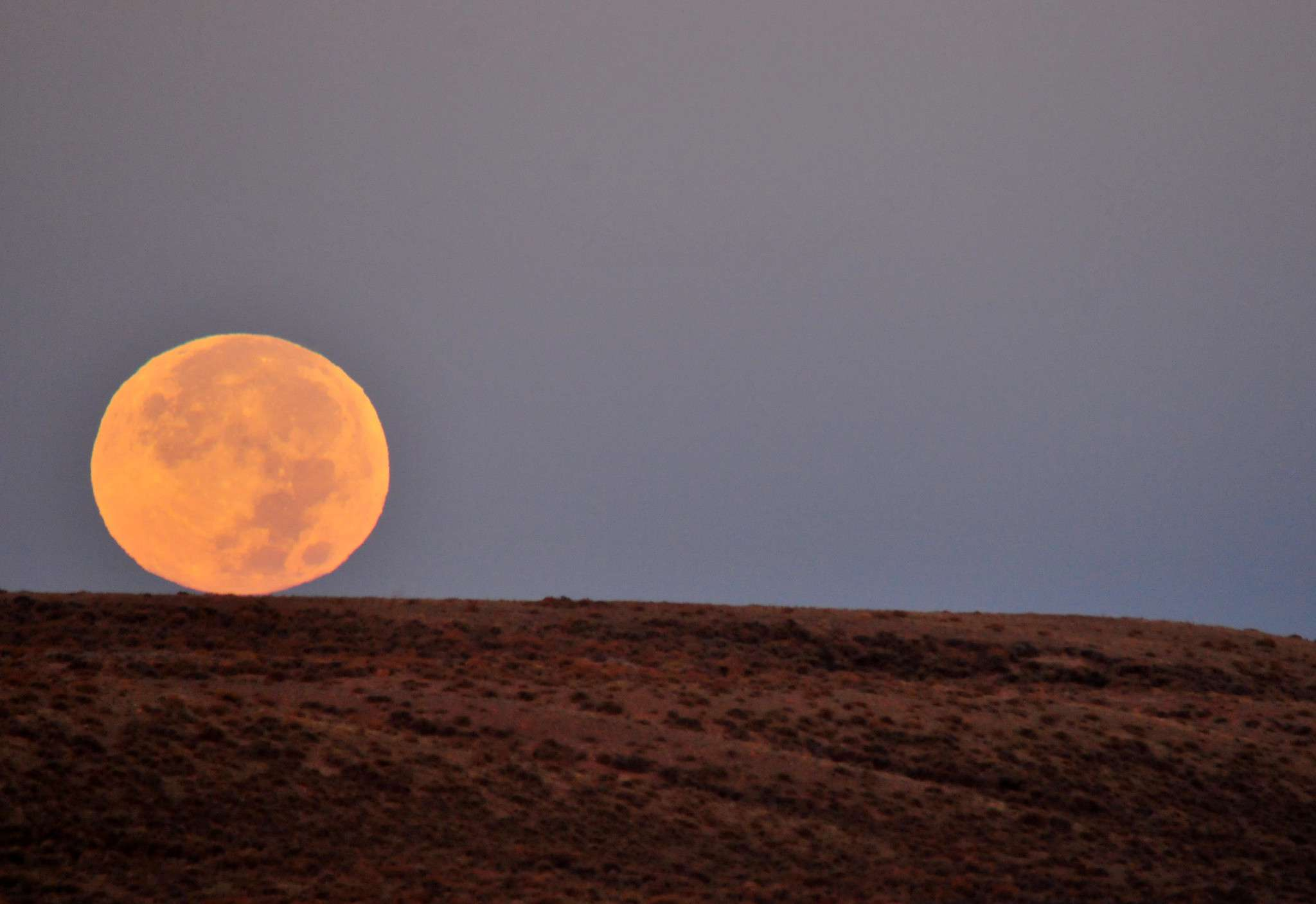 A large orange Hunter's Moon sets in Wyoming.