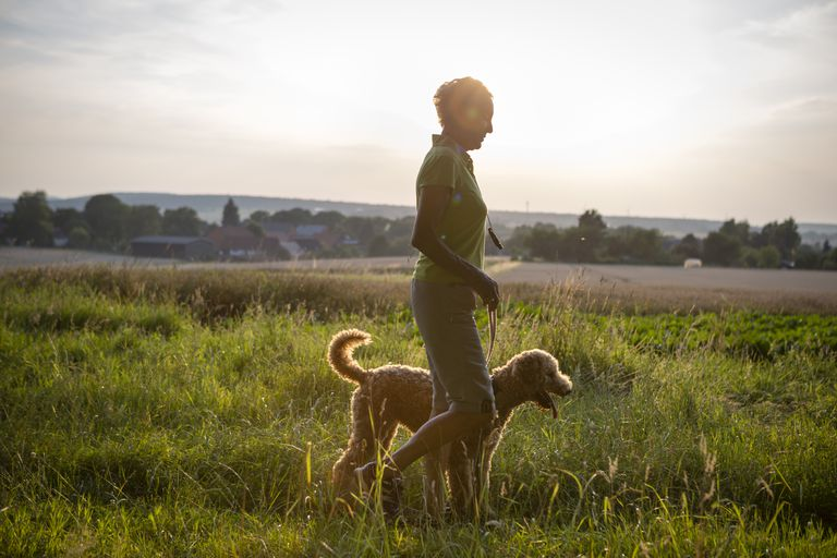 active senior woman walk with her dog in rural scene