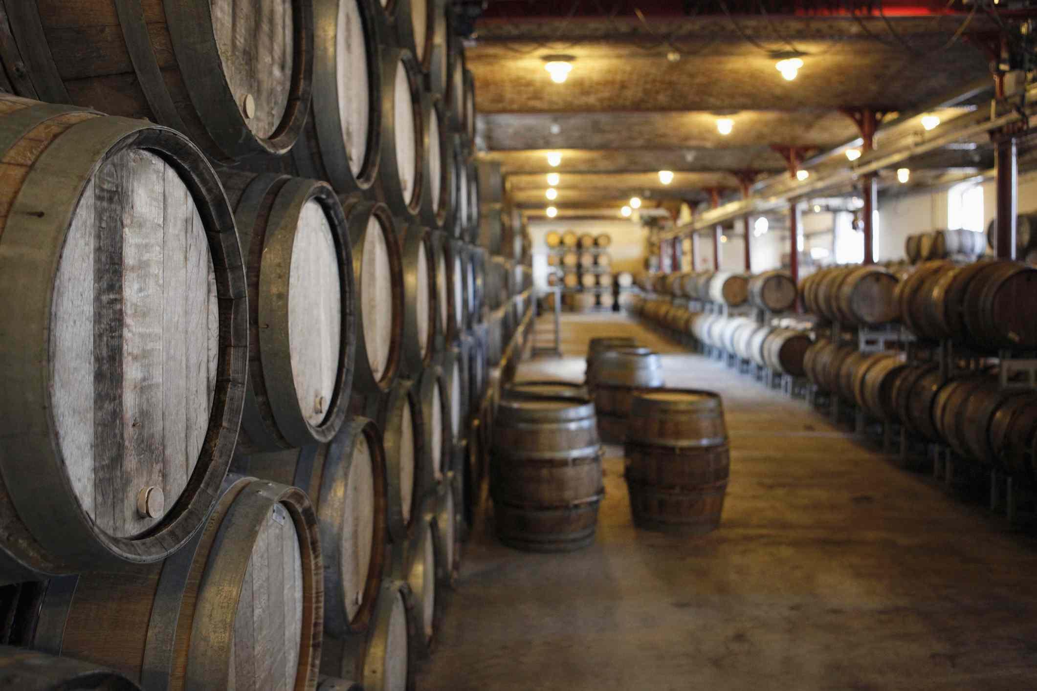 Oak barrels in a winery.