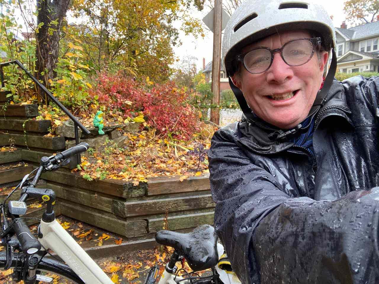 A wet bike and a wet biker