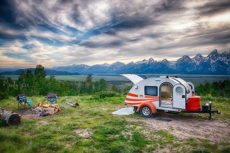Teardrop travel trailer parked in a scenic spot