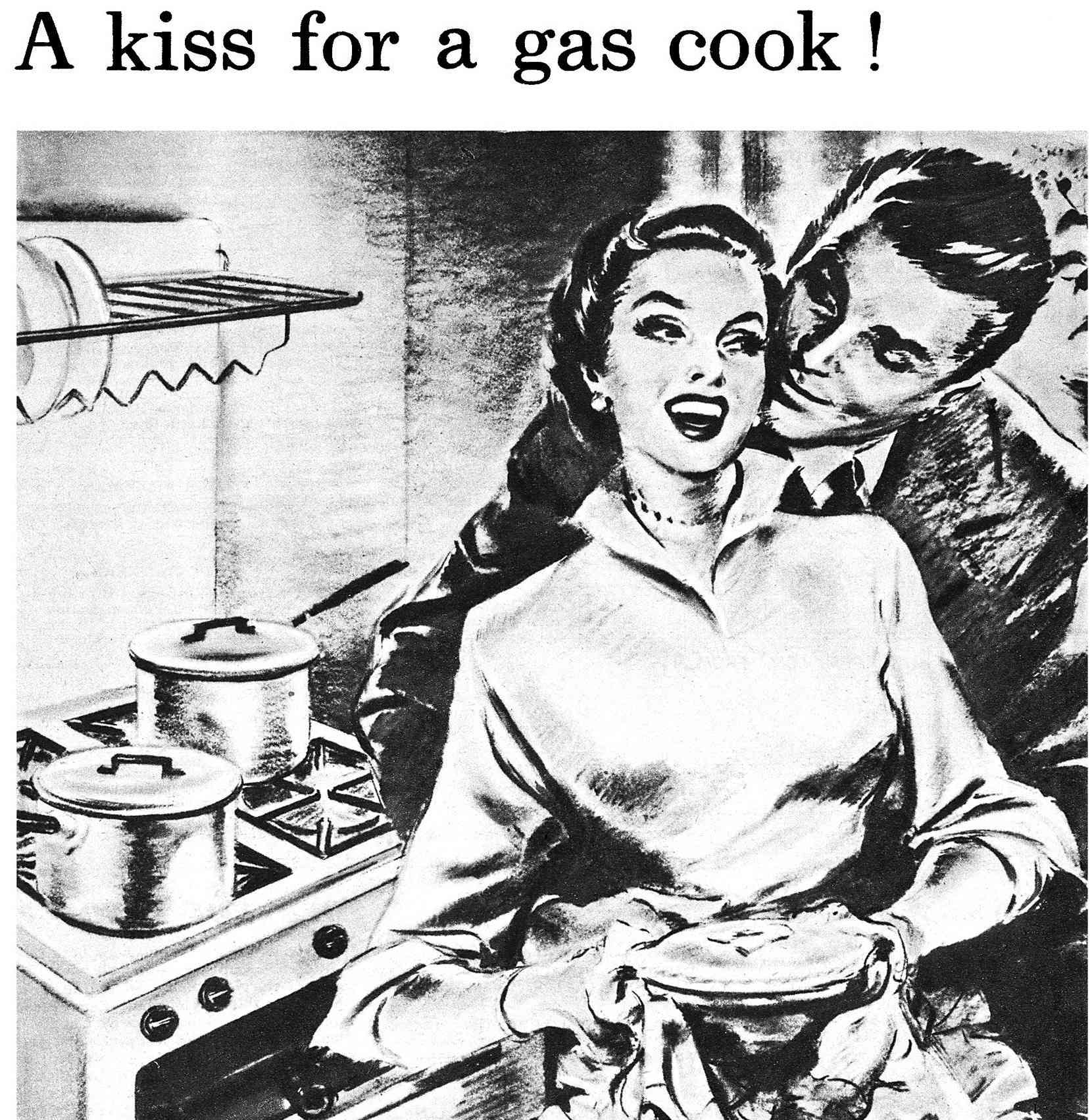 A kiss for a gas cook ad