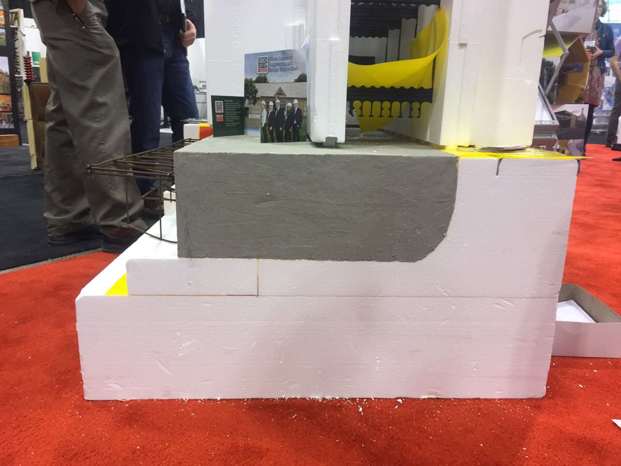 Side view of foam foundation sample