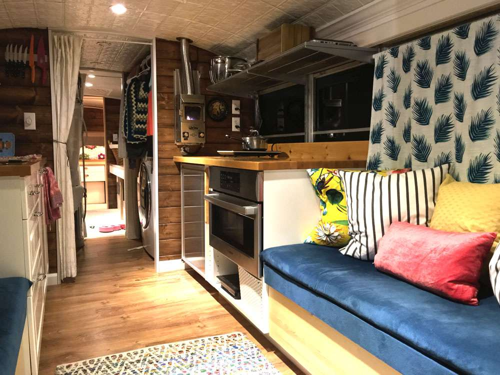 School bus converted into a tiny house