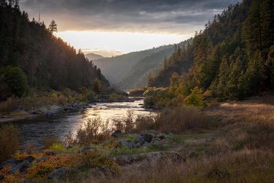 Scenic view of river amidst trees against sky during sunset,Rogue River,Oregon,United States,USA
