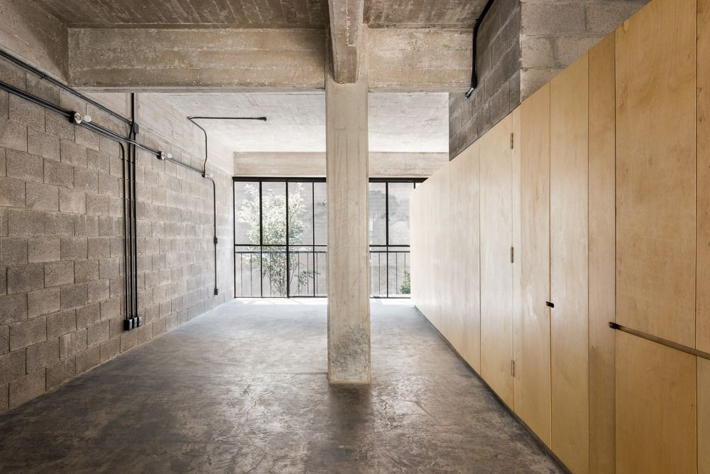 interior space with exposed finishes