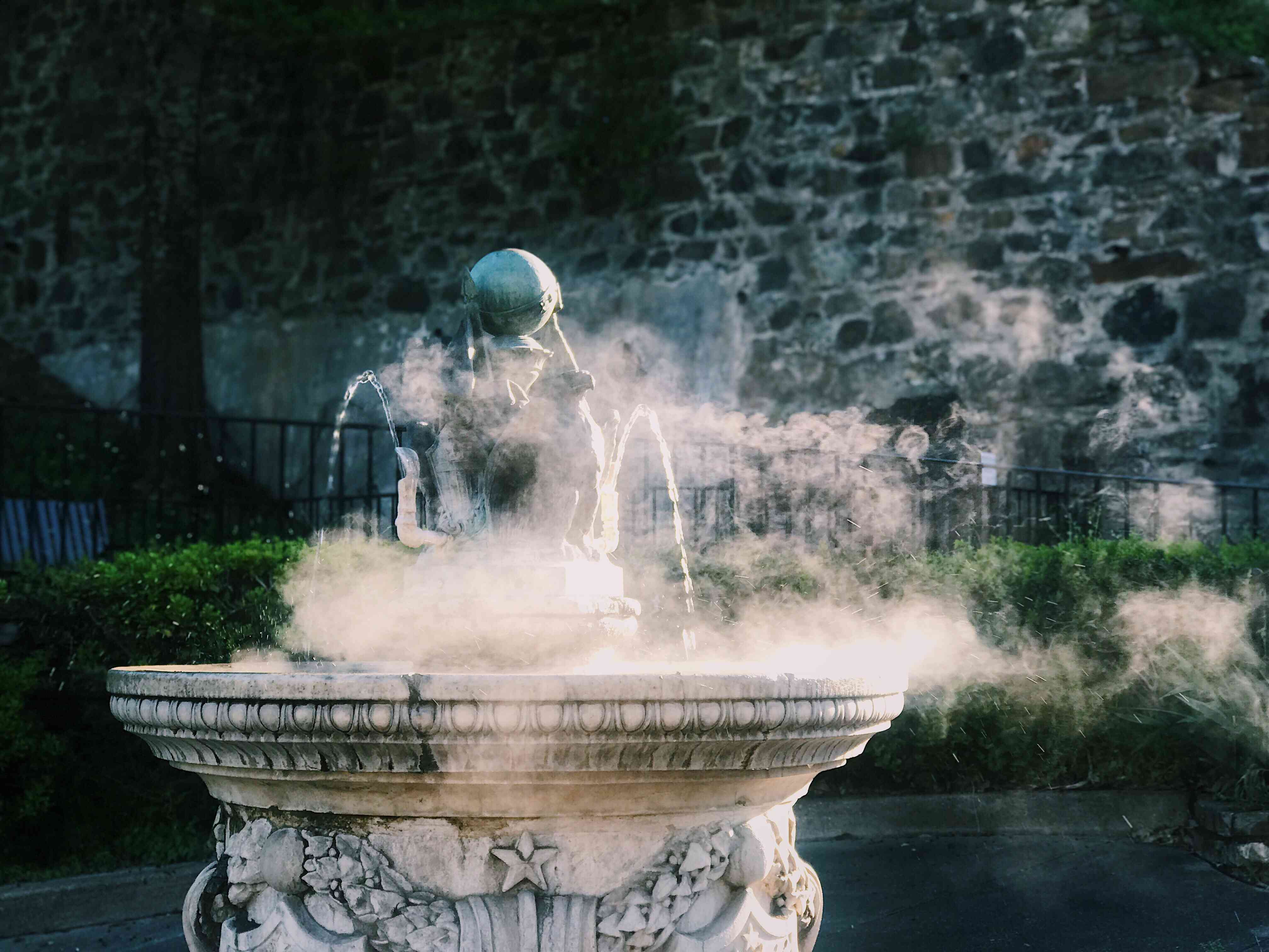 Steam Emitting From Fountain At Hot Springs National Park