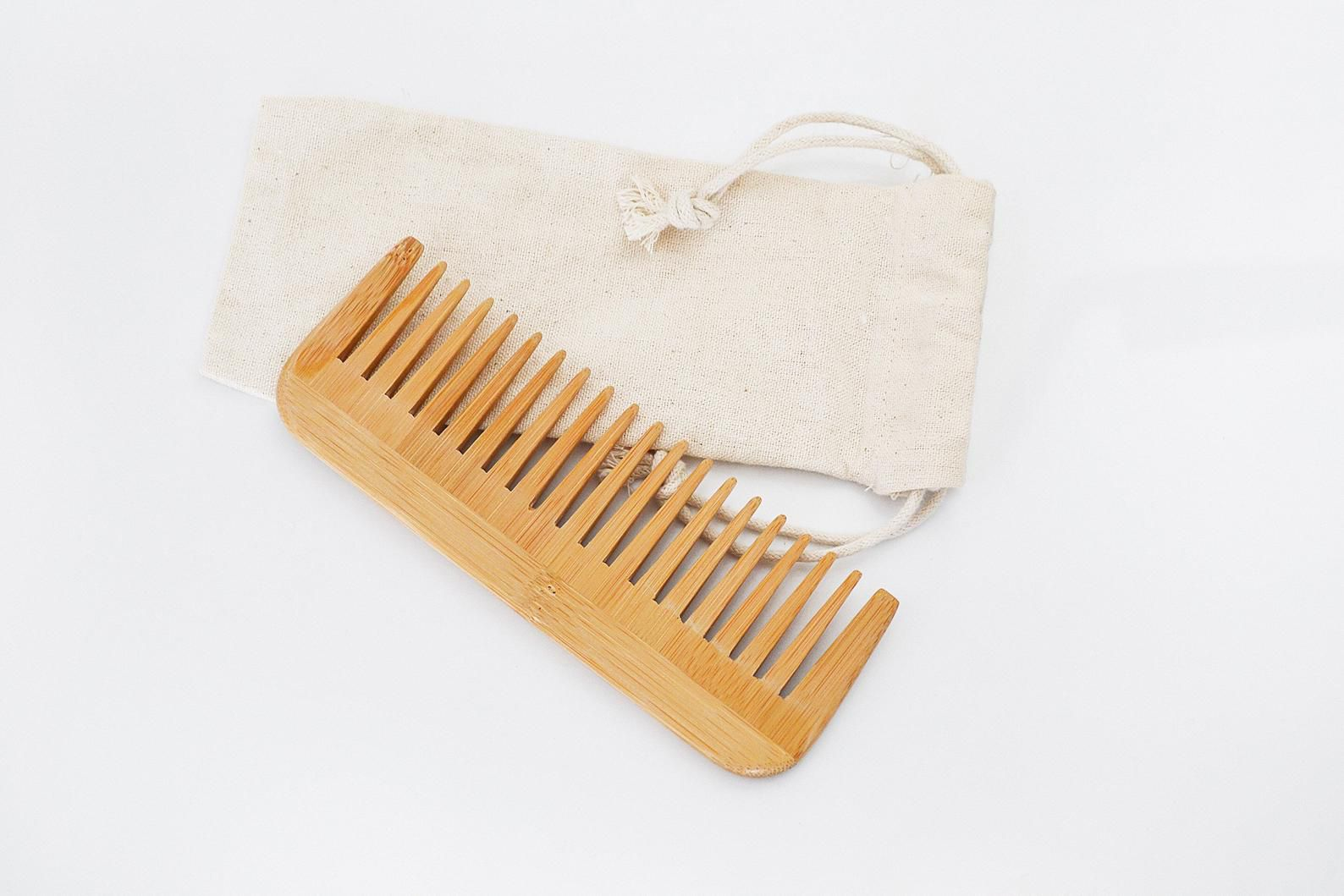 Smile Boutiques Natural Bamboo Wide Tooth Comb