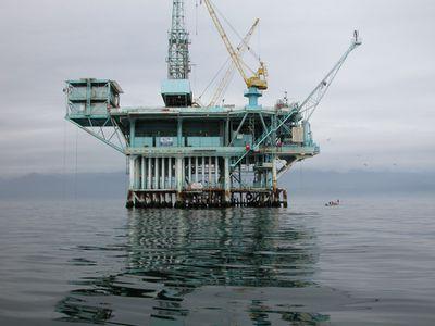 Platform Alpha drilling rig off the coast of Santa Barbara, California.