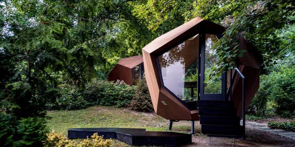 futuristic pod in the backyard
