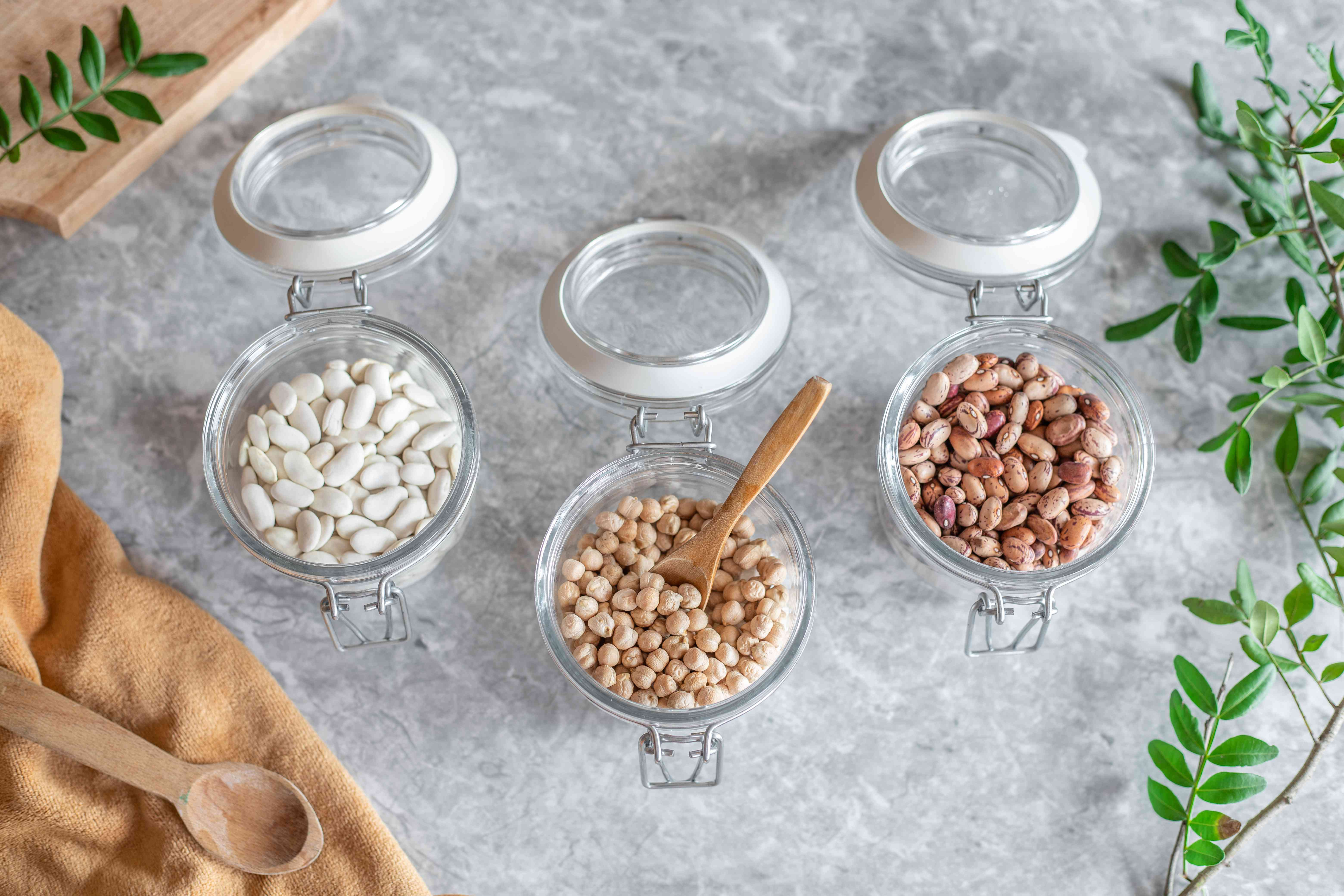 glass jars of dried beans