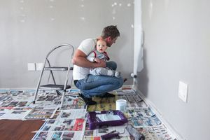 Painting the playroom with baby