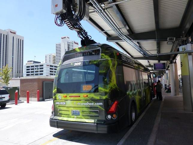 A Proterra bus in Reno connected to the overhead fast charger.