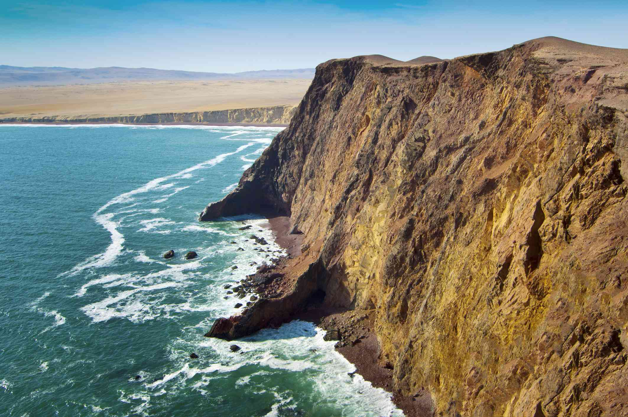 The Paracas cliffs rise above the water at Paracas National Reserve on a clear day