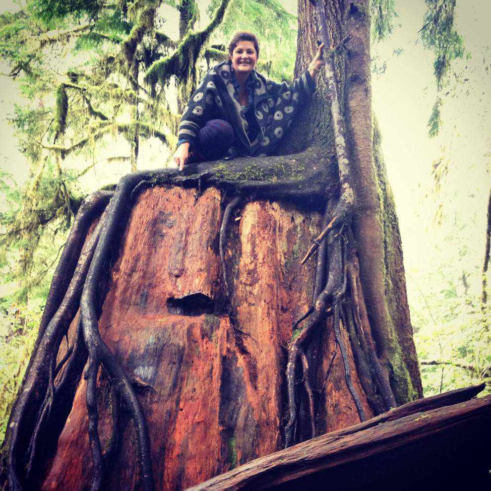 person on a large stump