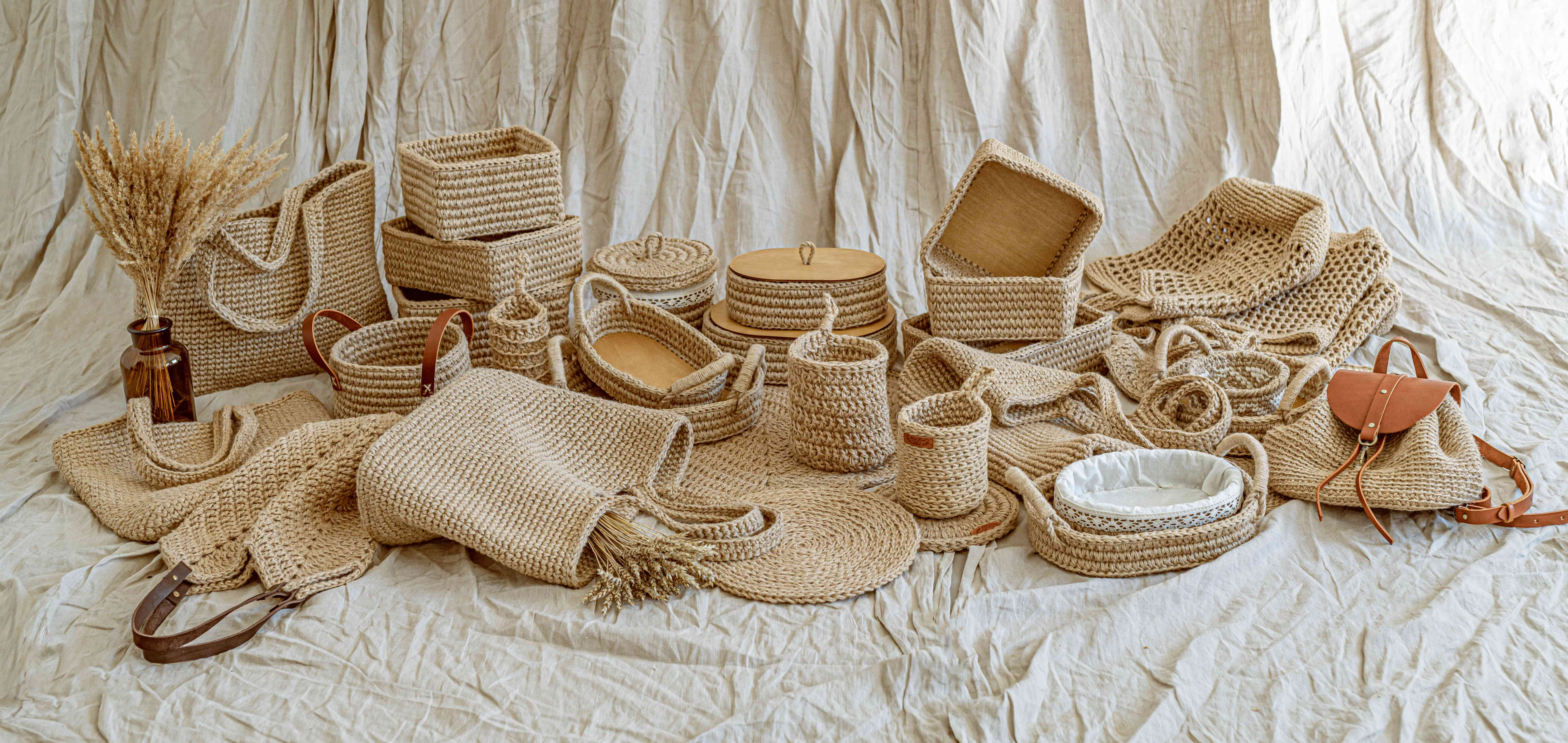 Handmade natural jute knitted items for home decoration, scandinavian style, beige tones no people, sustainable decor and interior details