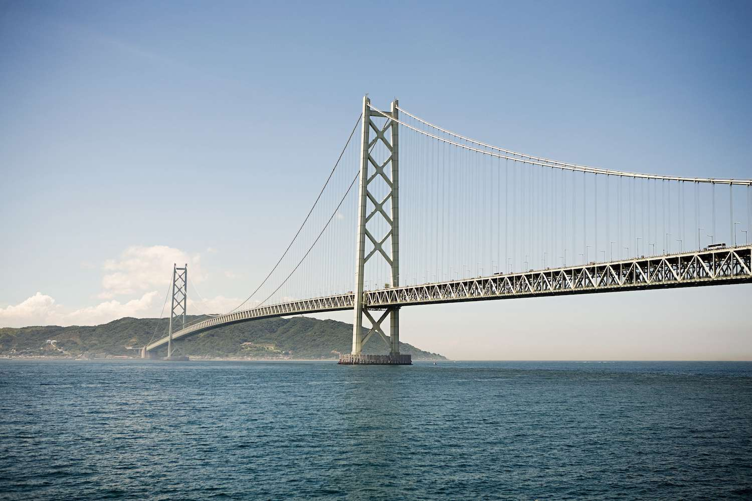 The Akashi Kaikyō Bridge over the blue waters of the Akashi Strait on a clear day