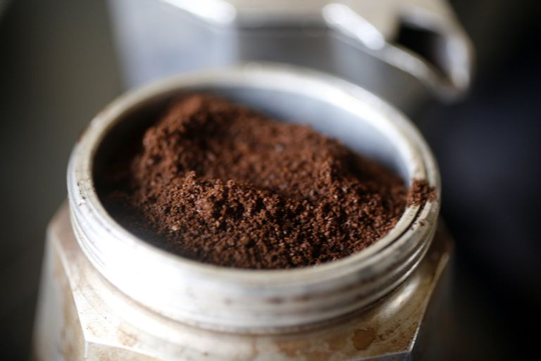 Coffee grounds in a stove top coffee maker