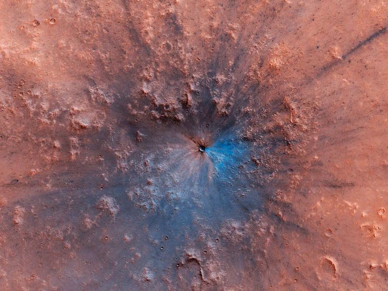 An image of a Martian crater taken by the Mars Reconnaissance Orbiter.