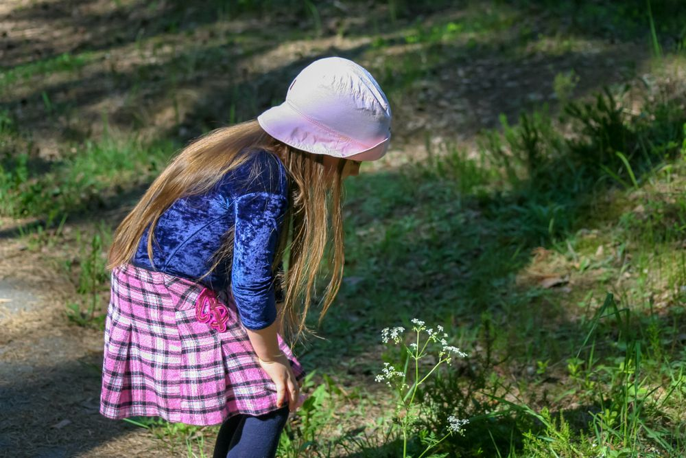 little girl looking at plant