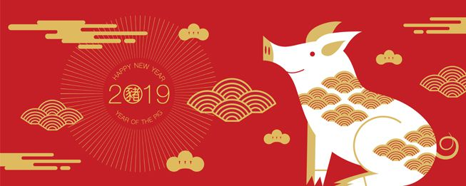 An illustration in red and gold to illustrate the 2019 year of the pig
