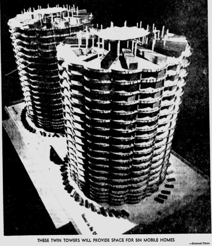 Se propuso un parque de remolques vertical en 1966