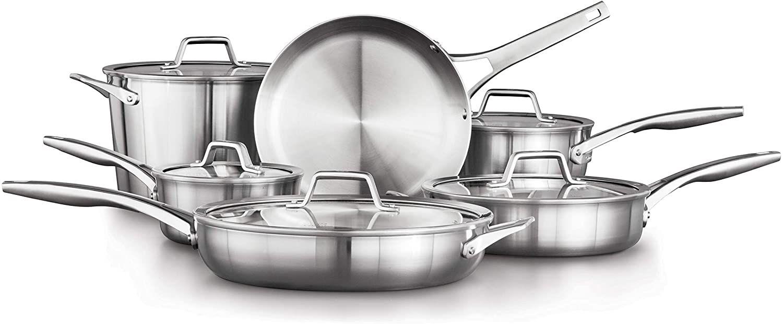 Calphalon Premier Stainless Steel 11-Piece Cookware Set, Silver