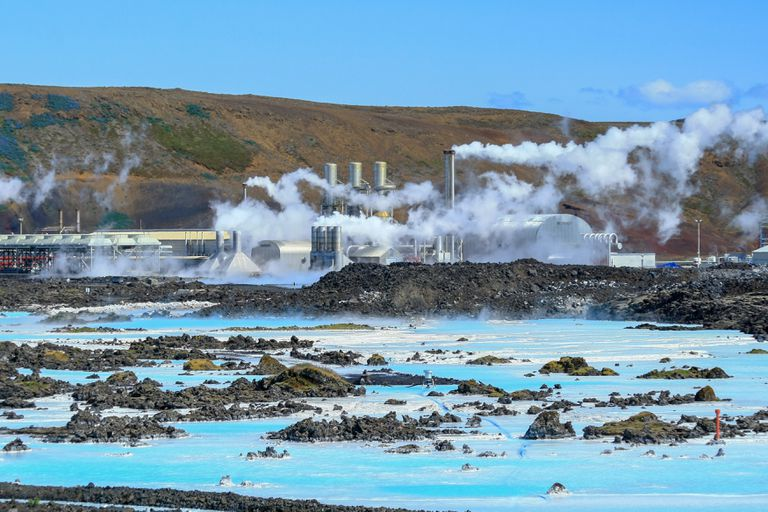 Geothermal power plant at the Blue Lagoon in Iceland
