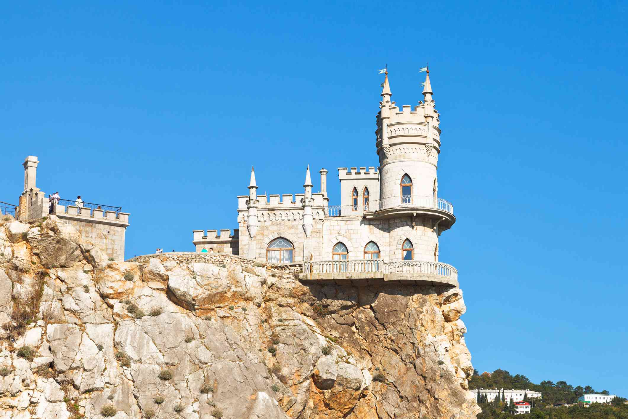 Swallow's Nest castle perched on Aurora Cliff under a clear blue sky