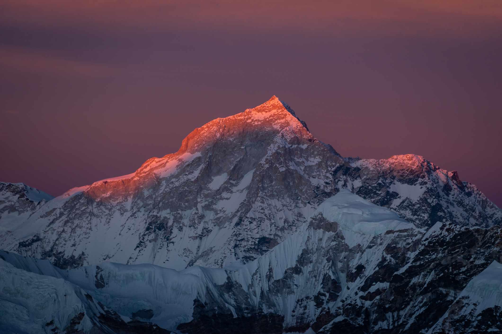 Sunset over Makalu mountain peak