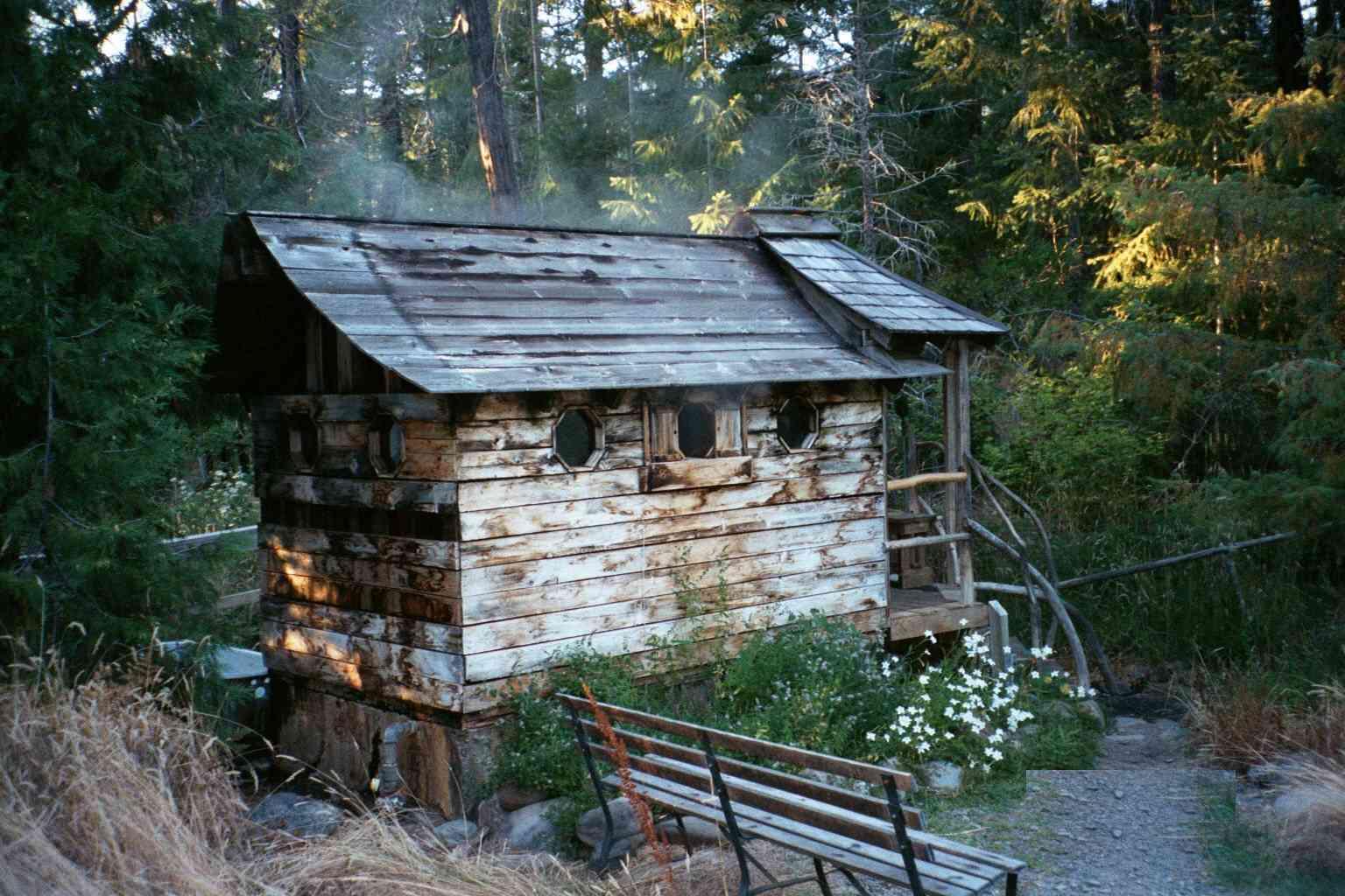 Steam hut in the forest at Breitenbush