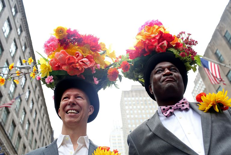 two men in downtown nyc with gorgeous Easter bonnets
