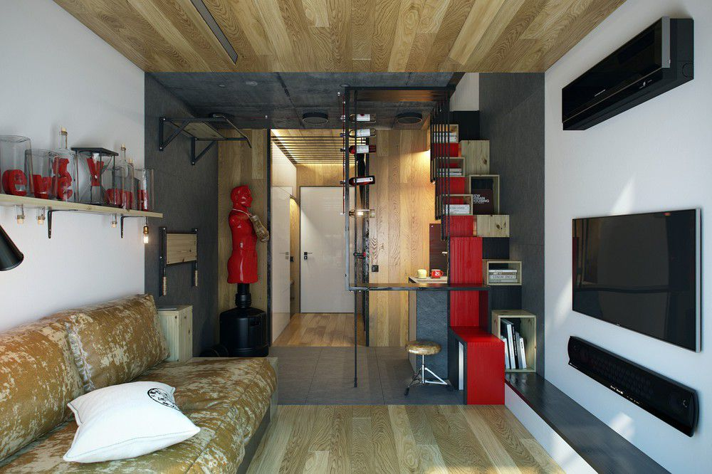 Weightlifter S 200 Sq Ft Micro Apartment Boasts Some Clever Space Saving Ideas